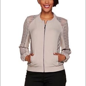 H by Halston Lace Panel Bomber Zip Up Jacket